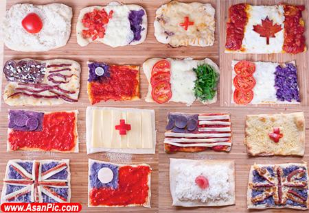 تصاویری از پیتزا الهام گرفته از پرچم کشور های مختلف
