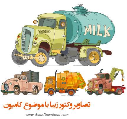دانلود تصاویر وکتور زیبا با موضوع کامیون - Car Truck Vector