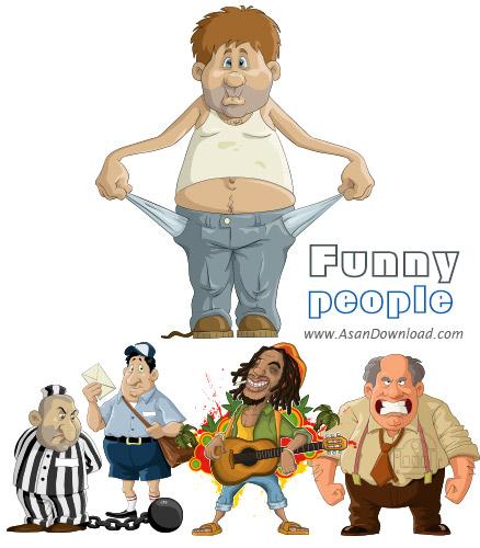دانلود وکتورهای آدم های کارتونی خنده دار - Funny People