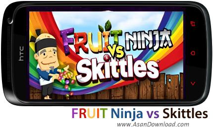 دانلود Fruit Ninja vs Skittles v1.0.0 - بازی موبایل تکه تکه کردن توپ های رنگی بولینگ در نینجای میوه ای