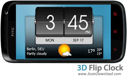 دانلود ۳D Flip Clock & World Weather v0.92 - ویجت موبایل ساعت سه بعدی