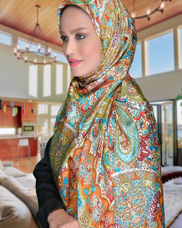 روسری ترمه ابریشم طراحی ویژه با جنس عالی و خاص ترمه ابریشم
