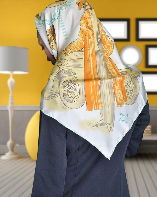 روسری ساتن Macho زیبا و با وقار با جنس عالی و دست دوز