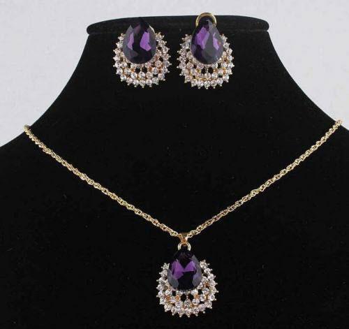مدل های جدید سرویس طلا و جواهرات زنانه و دخترانه رنگ بنفش  - قسمت اول