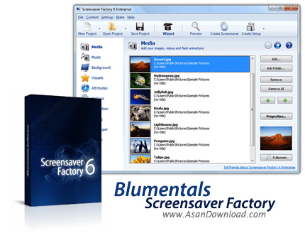 دانلود Blumentals Screensaver Factory Enterprise v7.1.0.66 - ساخت اسکرین سیور