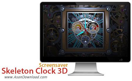 دانلود Skeleton Clock 3D Screensaver - اسکرین سیور ساعت مکانیکی