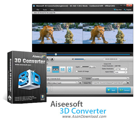 دانلود Aiseesoft 3D Converter v6.3.90 - نرم افزار مبدل ویدئوهای دو بعدی به سه بعدی