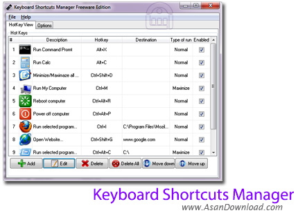 دانلود Keyboard Shortcuts Manager v1.5 - ساخت و مدیریت کلیدهای میانبر