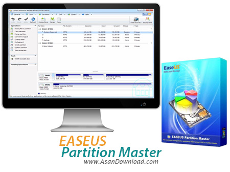 دانلود EASEUS Partition Master v12.5 Technican + v12.00 Pro + v11.10 All Version + Server v9.2.1 + Boot CD - نرم افزار پارتیشن بندی هارد دیسک