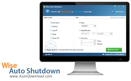 دانلود Wise Auto Shutdown v1.7.2.90 - نرم افزار خاموش کردن رایانه به صورت خودکار